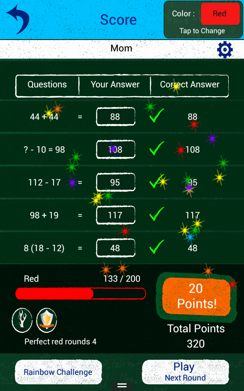 Score Screen - rewards and points